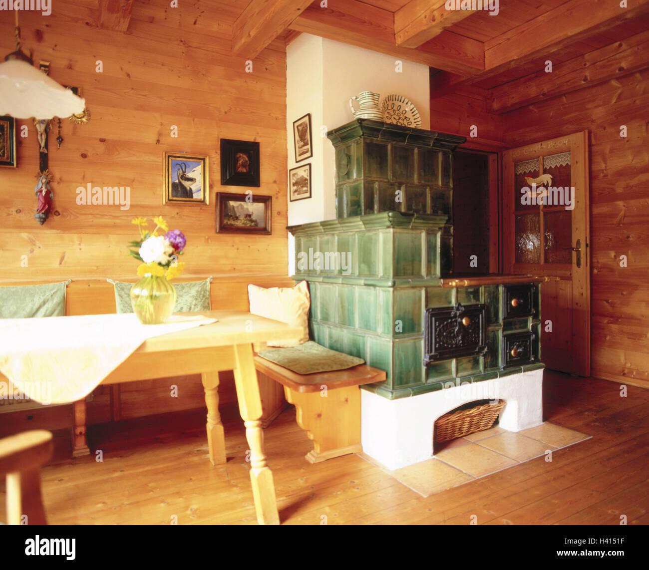 Salon Cocina Comedor Rustico. Habitacin Residencial Estufa De ...