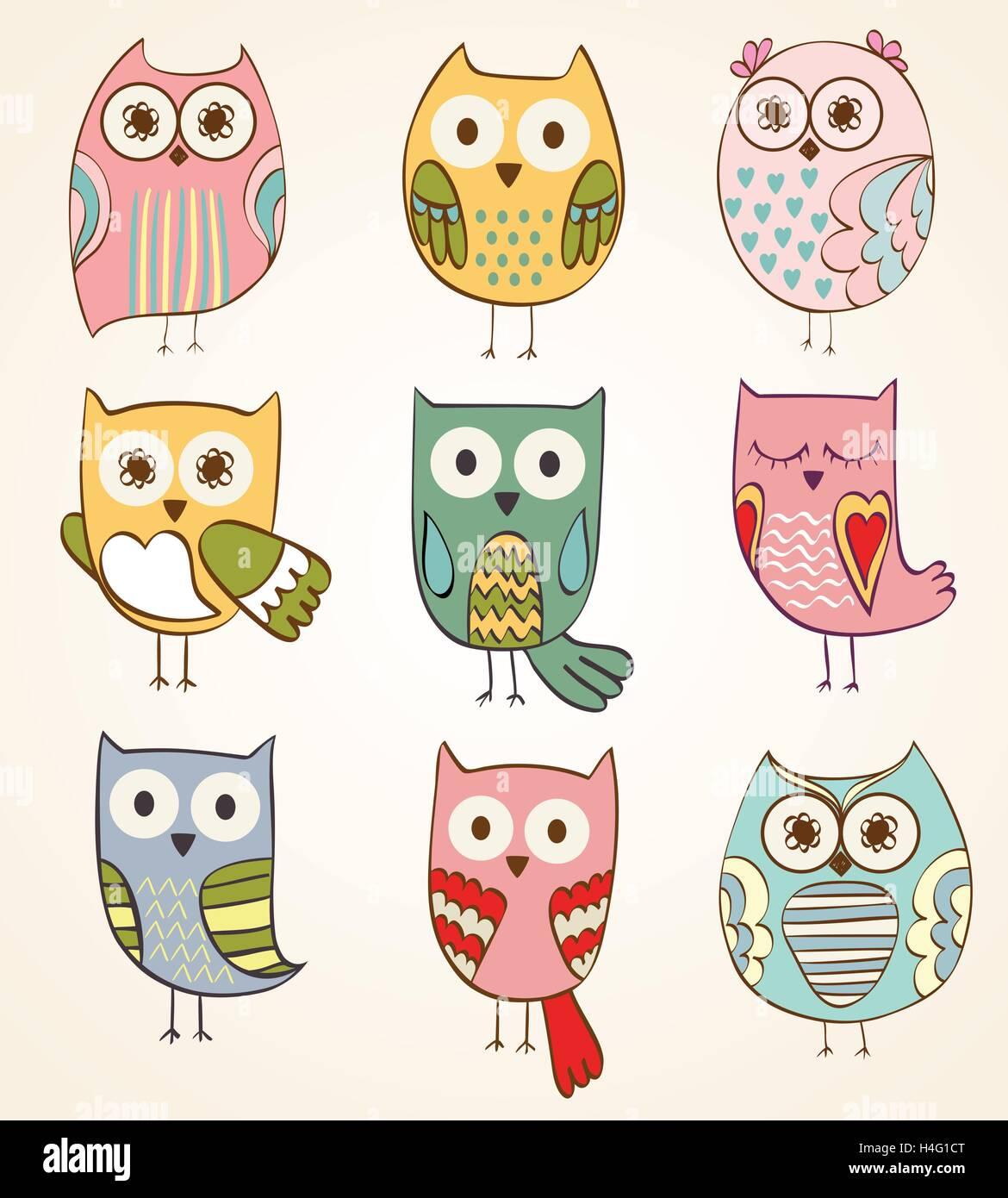 Dibujos Animados De Buhos Ilustracion Del Vector Imagen 123283576