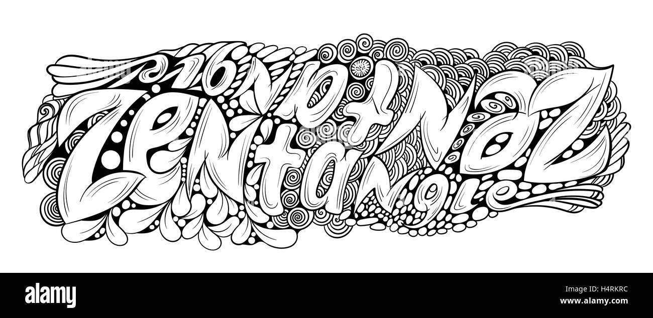 Monocromo vectorial ilustración texto zentagle dibujados a mano ...