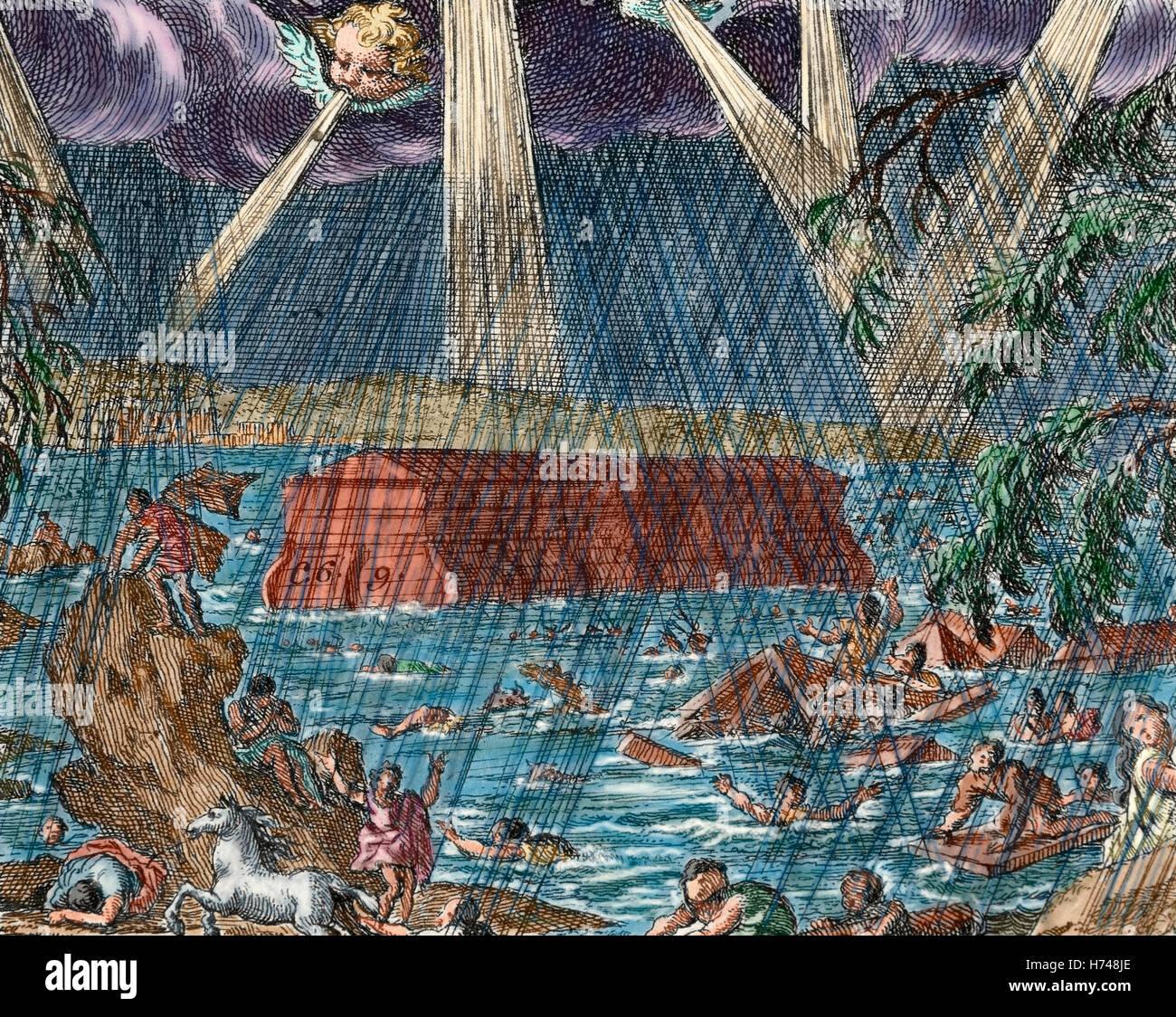 El Diluvio. Noah\'s Ark Libro del Génesis. Los Capítulos 6-9. Grabado ...