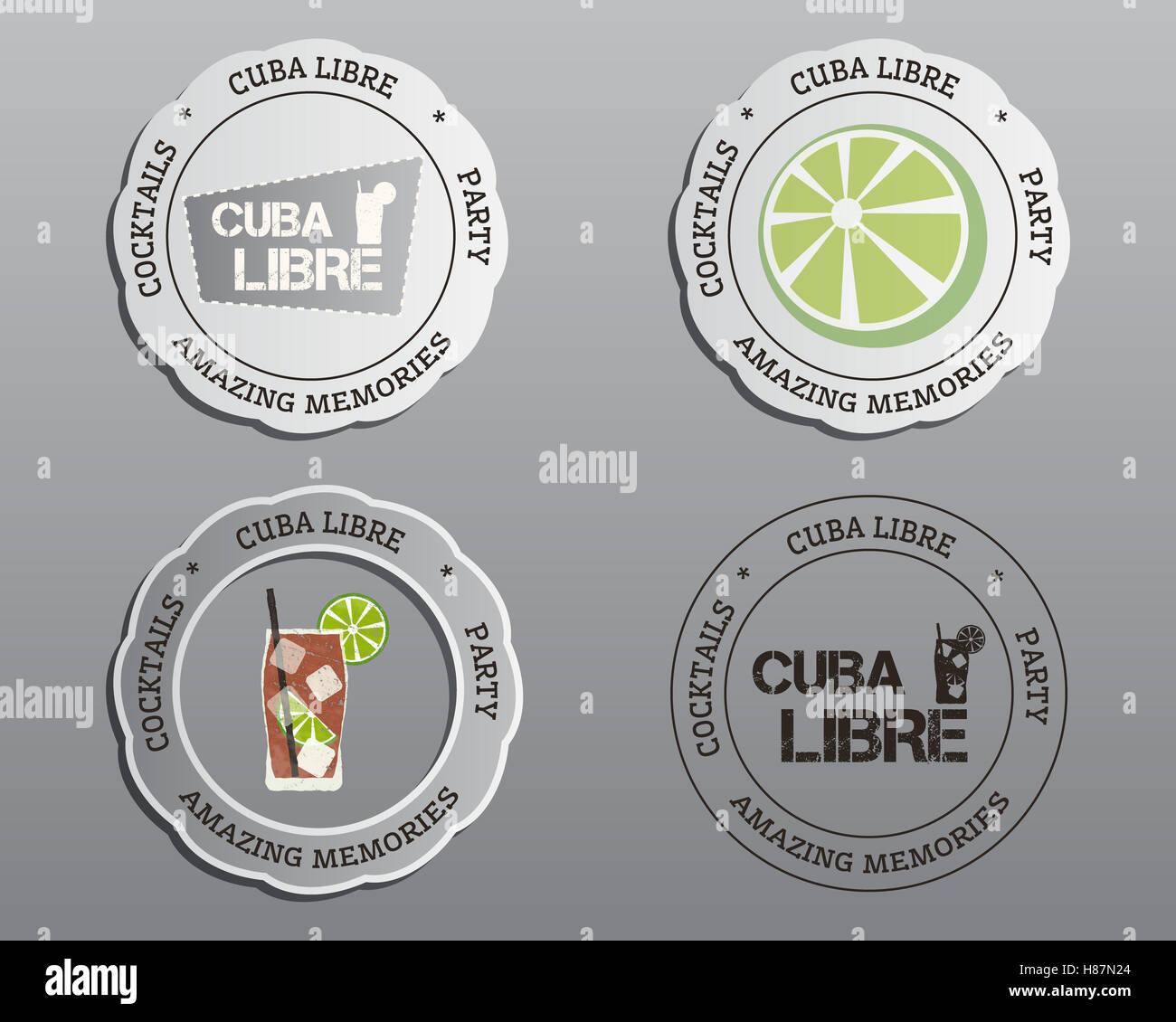 Cóctel de verano distintivos, etiquetas y plantillas de diseño de ...