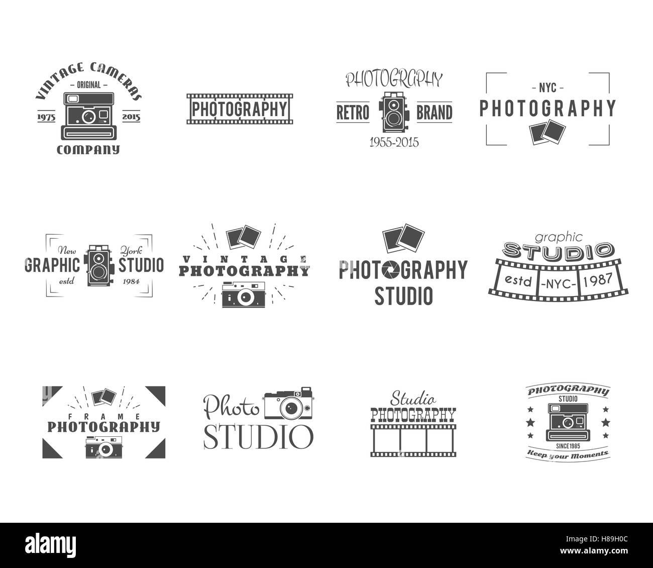 Vintage Photography insignias, etiquetas de plantillas. Monocromo ...