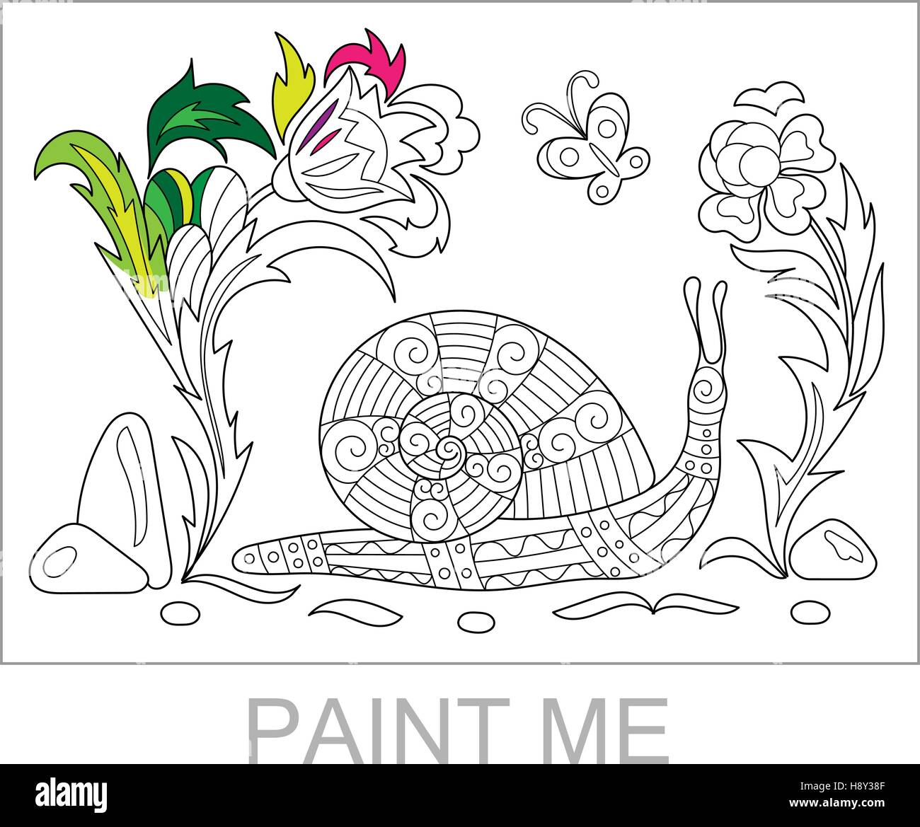 Zentangle Caricatura Estilizados Caracol Rastreo Entre Las Flores