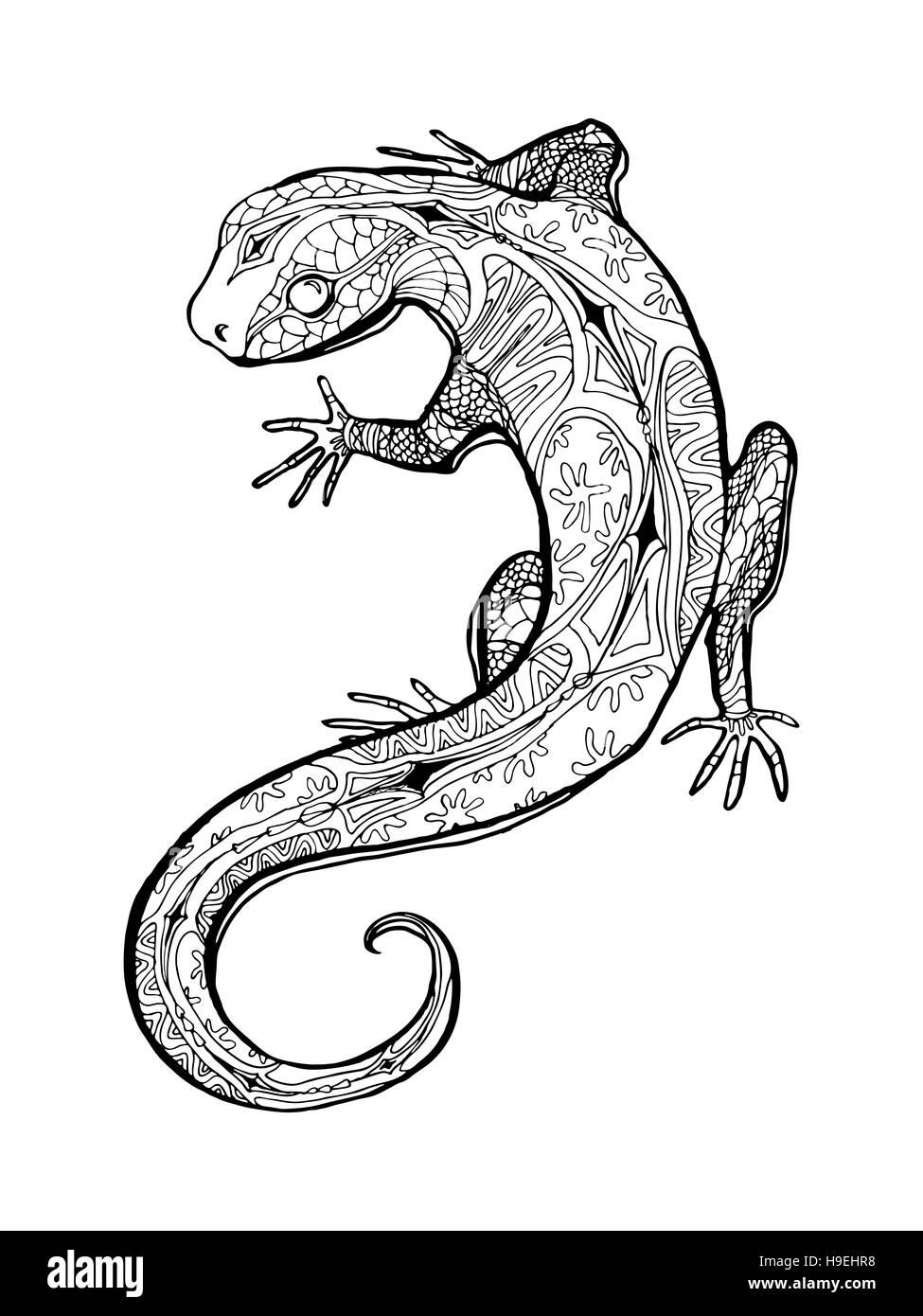 La lagartija. Ilustración tropical para adultos libro para colorear ...
