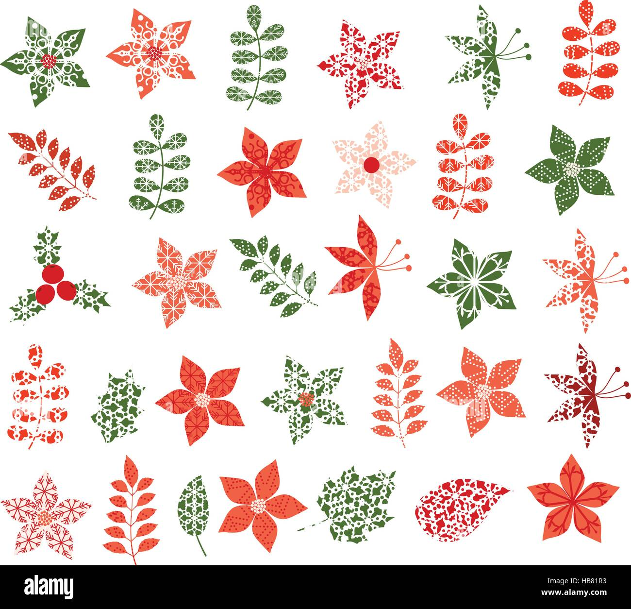 De invierno y Navidad flores, hojas y ramas en colores rojo y verde ...