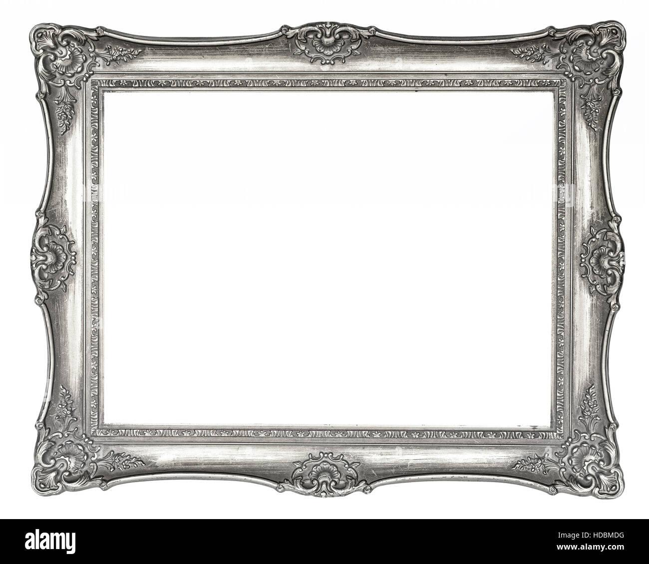 Vintage de plata marco de imagen en alta resolución aislado sobre ...