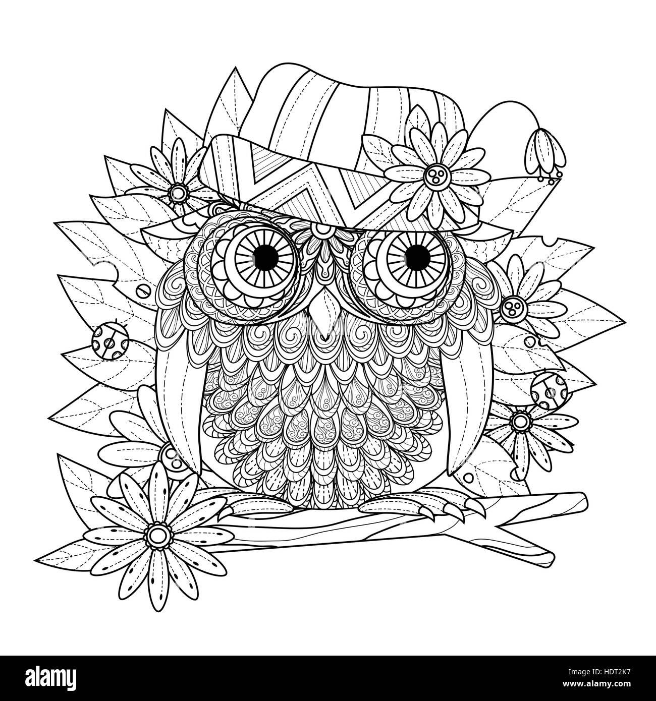 Búho preciosa página para colorear en línea exquisita Ilustración ...