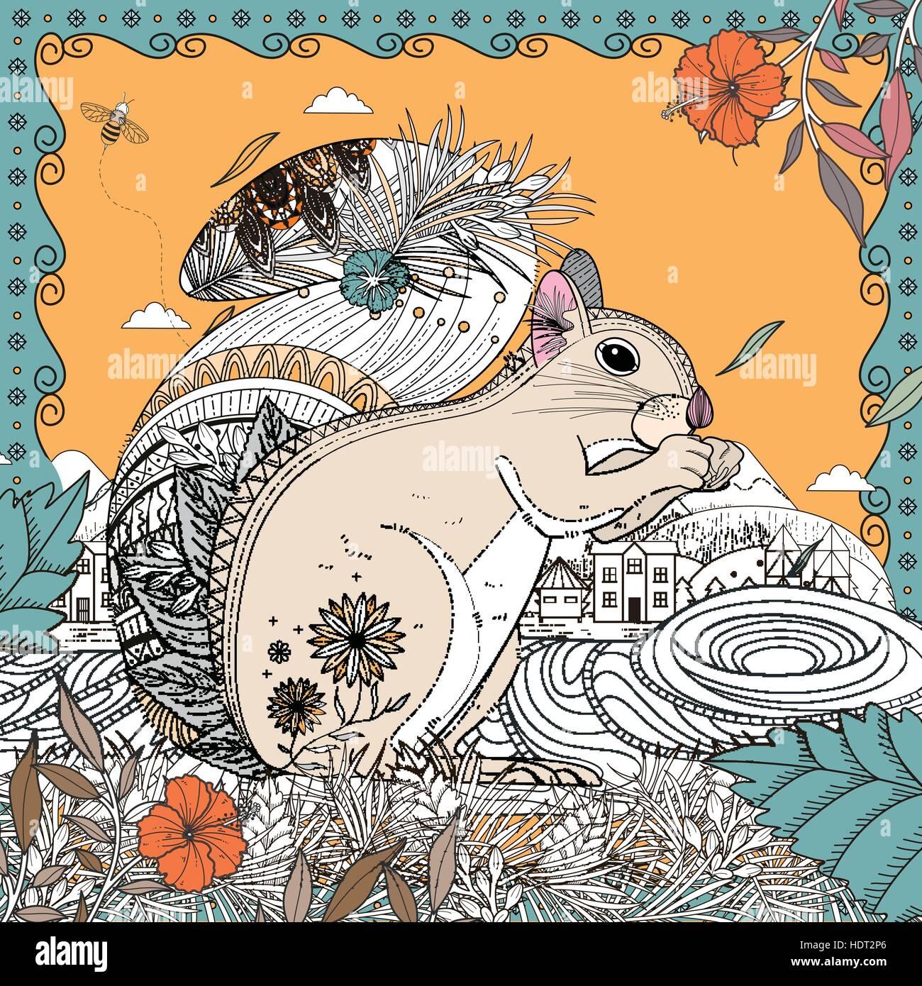 Adorable ardilla página para colorear en línea exquisita Ilustración ...