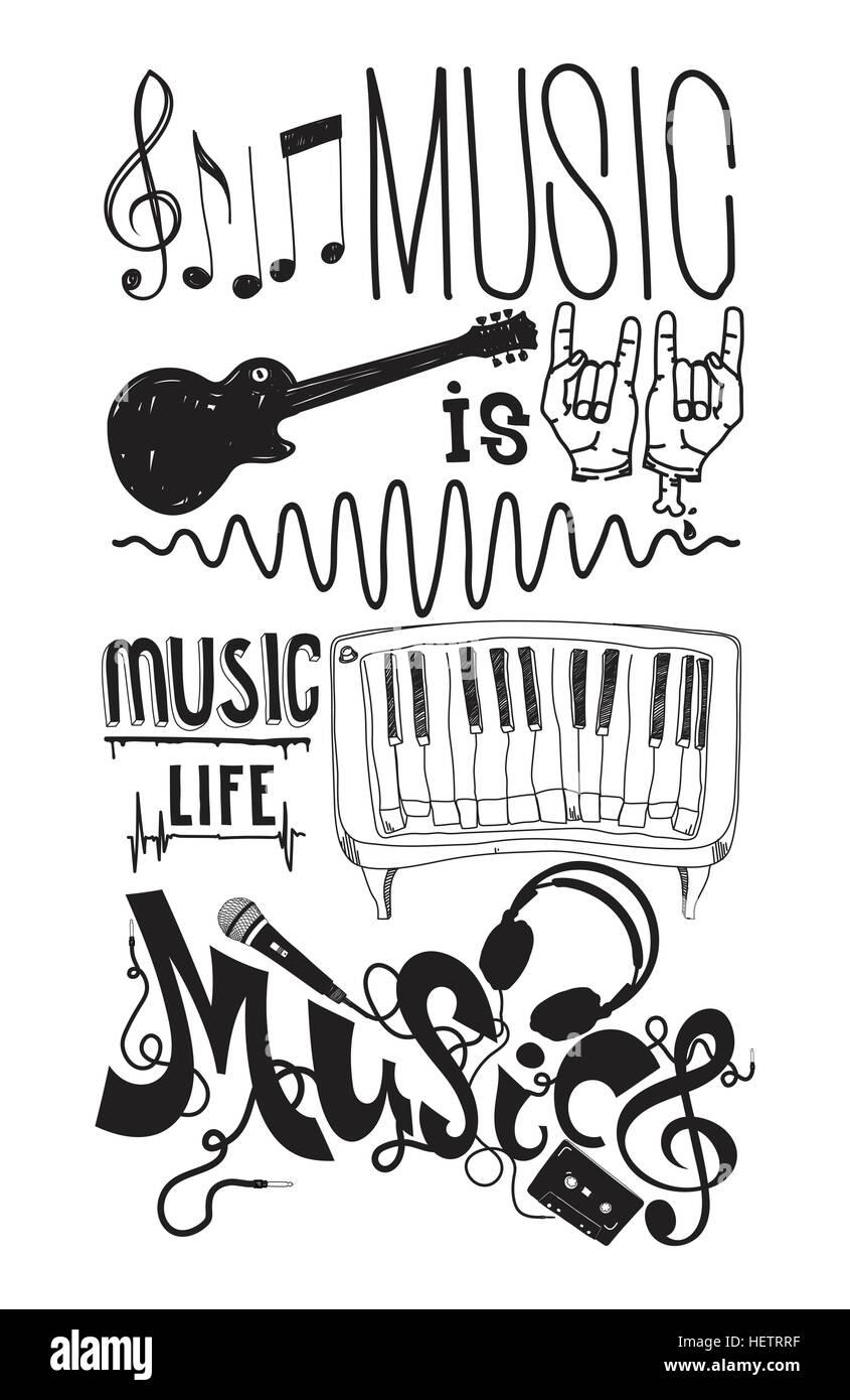 La Música Es La Vida Prefecto Con Instrumentos Musicales Doodle