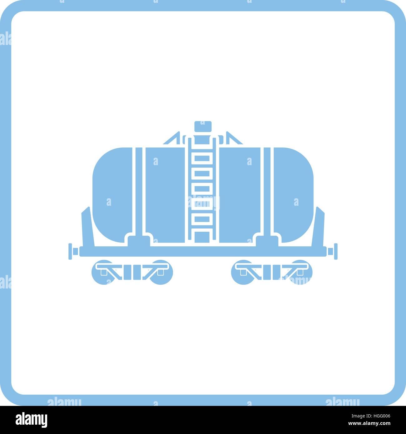 Aceite del depósito ferroviario icono. Diseño de marco azul ...
