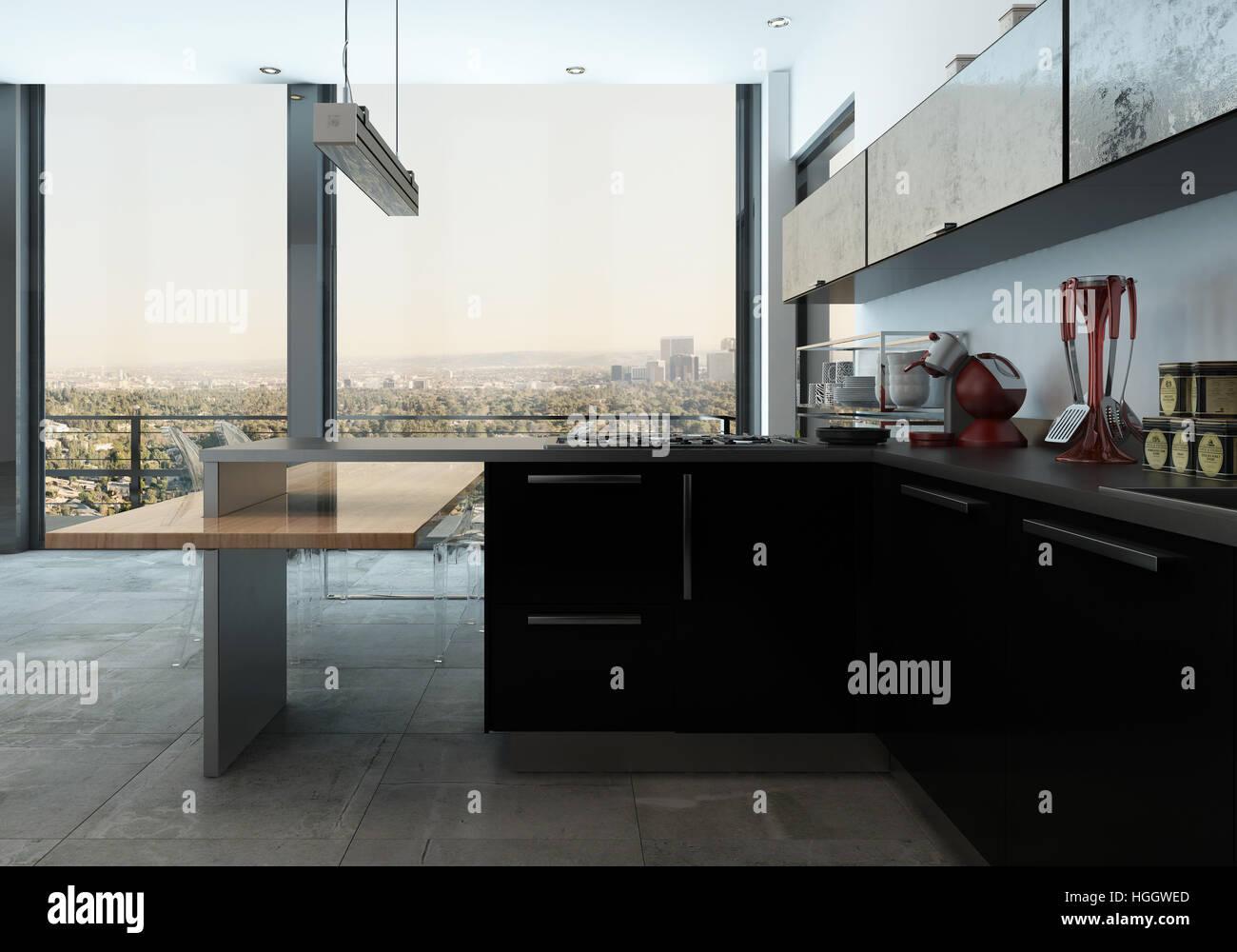 Cocina Moderna En Un Apartamento De Lujo Con Elegantes - Electrodomesticos-negros