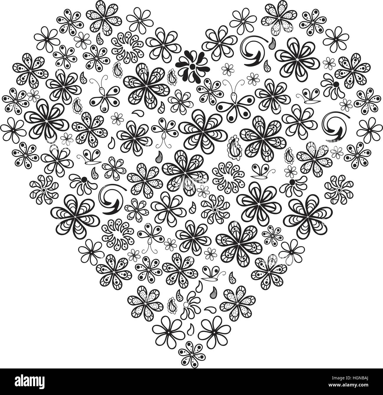 Concepto de amor de un montón de flores en forma de corazón sobre ...