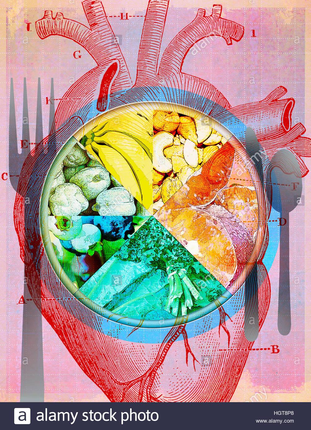 Plato de diferentes tipos de alimentos saludables durante el ...