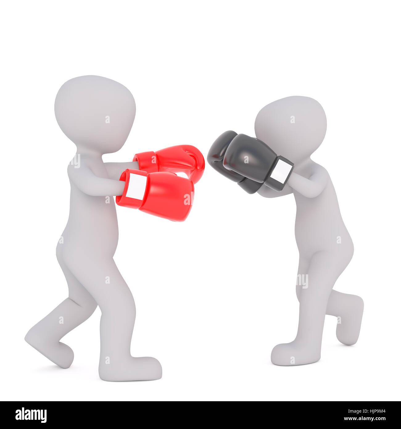 gris genérico dos figuras dibujos animados en 3d usando guantes de