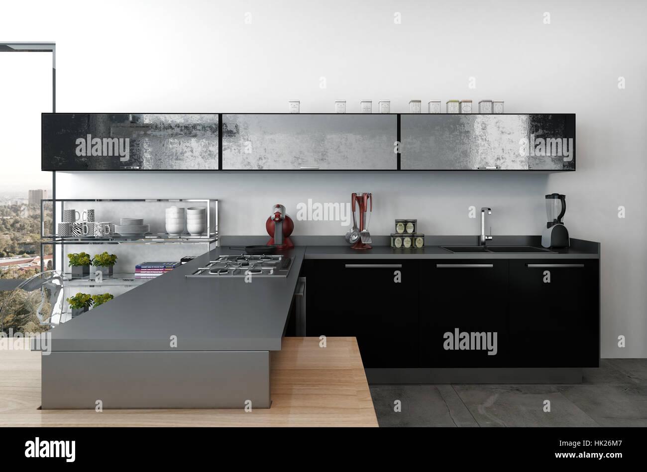 Elegante Cocina Moderna Con Gabinetes Negros Y Pequenos - Electrodomesticos-negros
