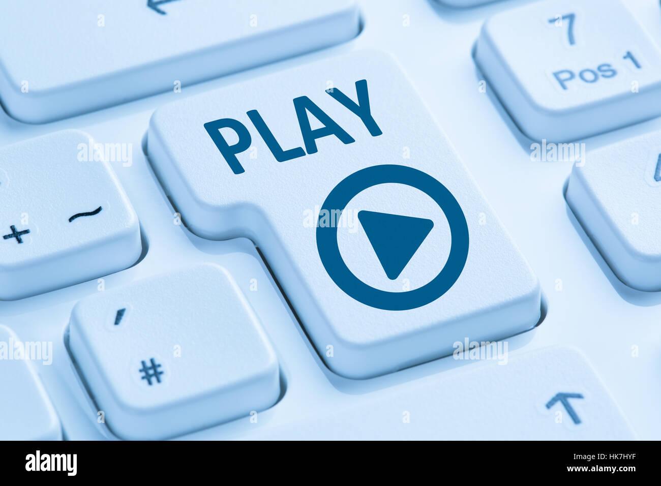 Pulse El Botón Play Para Escuchar Música De Película Azul Símbolo De