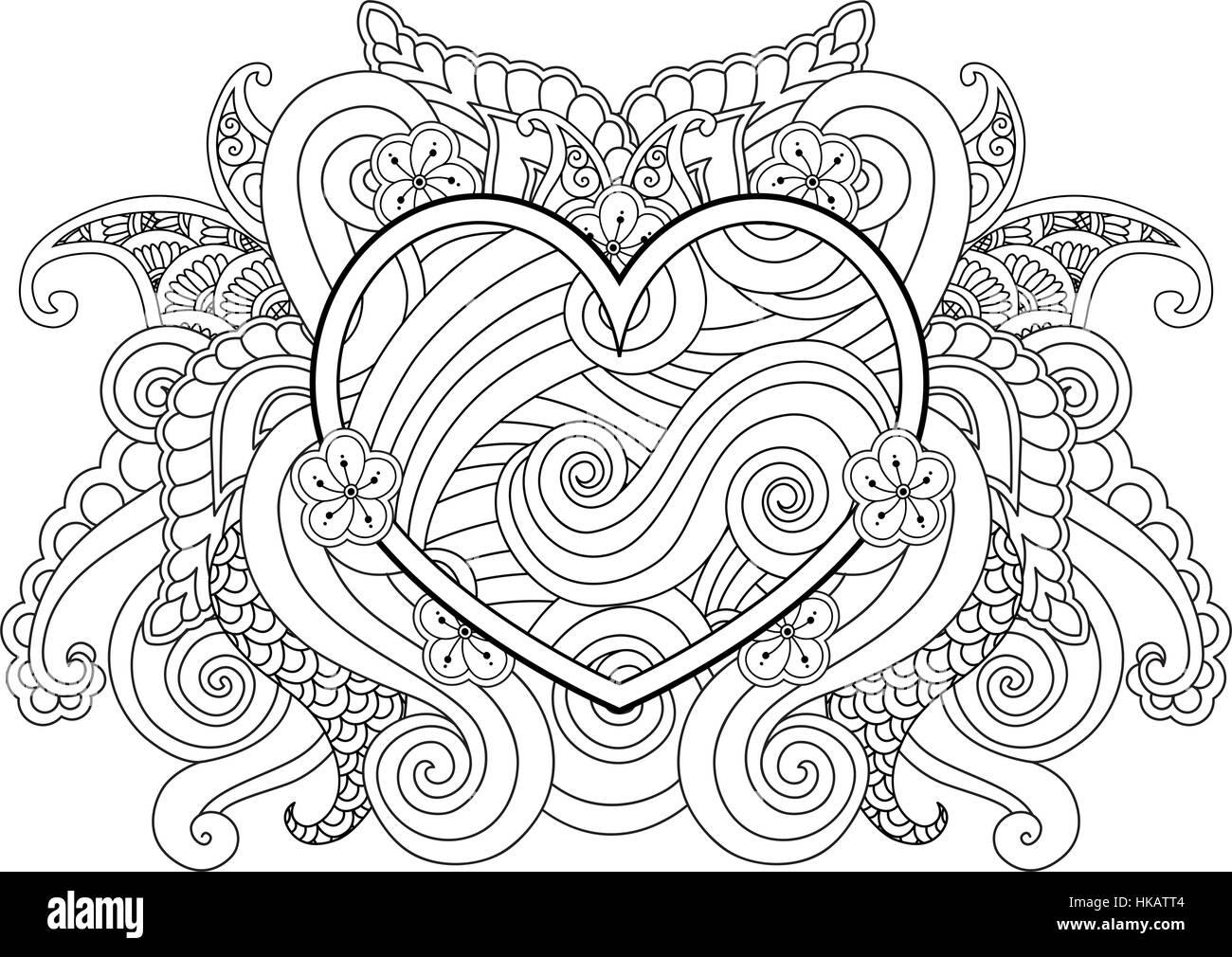 Página de colorear con el corazón y el elemento abstracto aislados ...