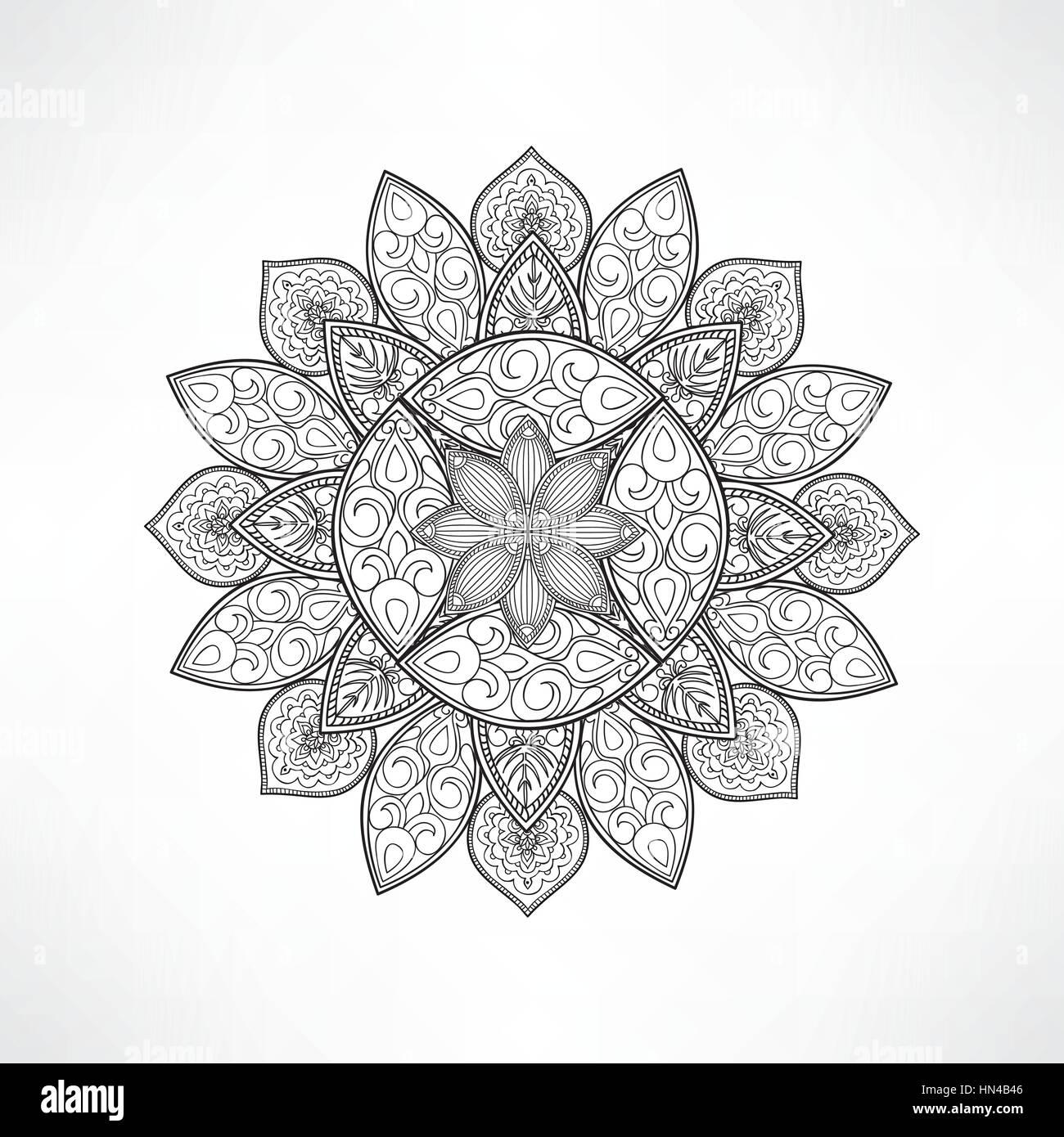 Flor Geométrica Mandala Para Colorear Mandala Vector Página Para