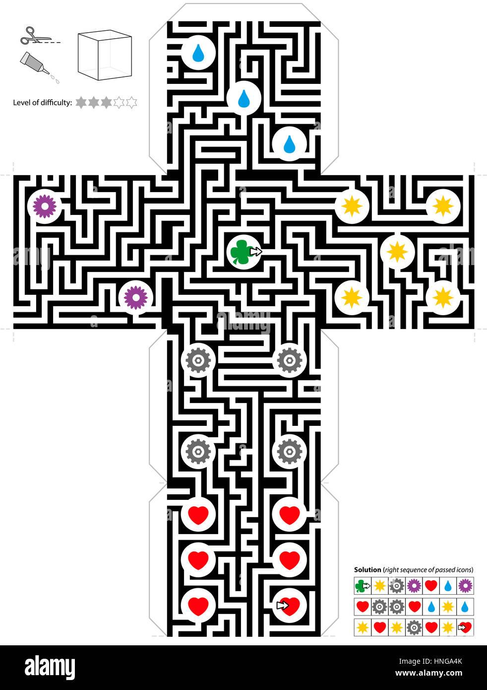 Plantilla cubo laberinto Foto & Imagen De Stock: 133739555 - Alamy