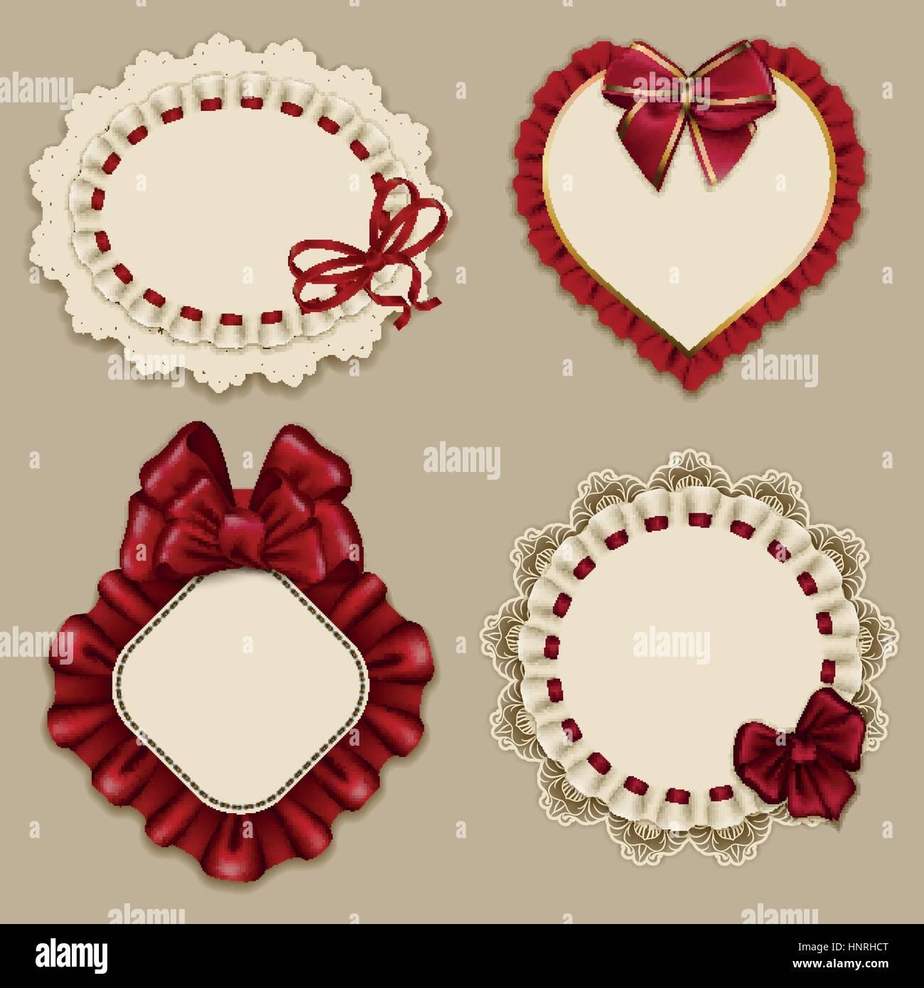 Conjunto de plantillas elegantes marcos ornamentados por invitación ...