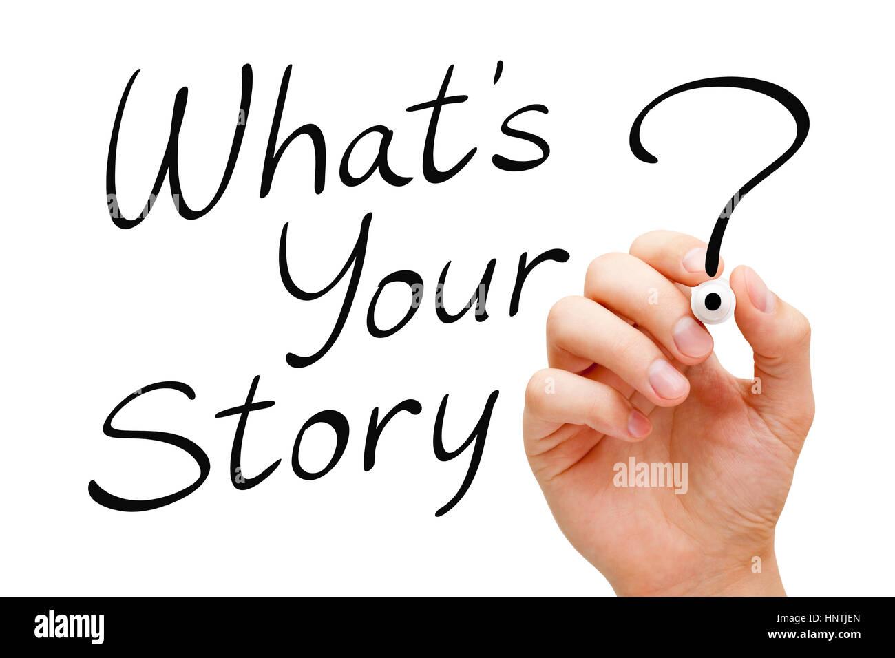 Escritura a mano cuál es tu historia con marcador negro aislado en ...
