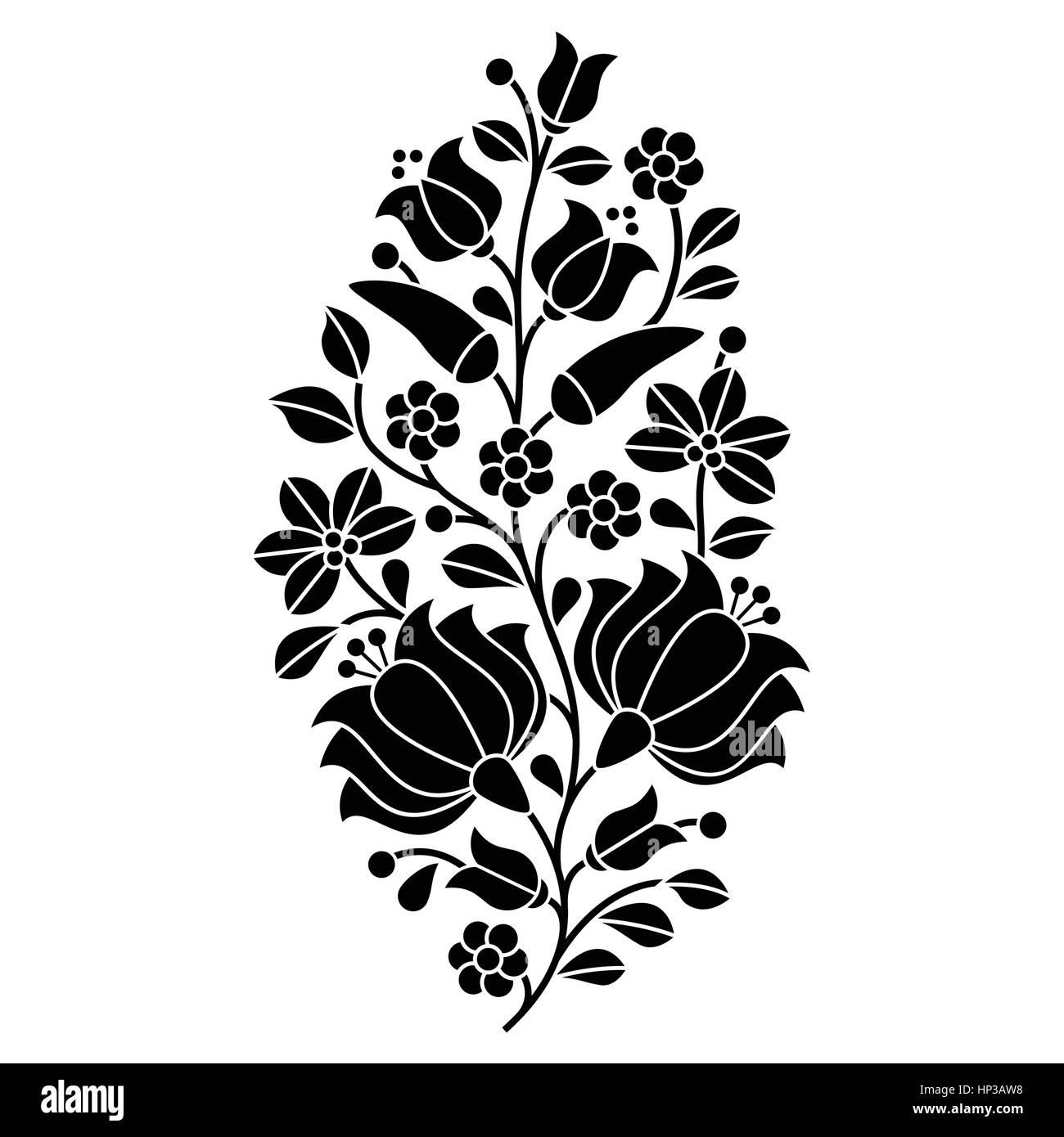 Húngaro folk negro patrón : Kalocsai bordado con flores y pimentón ...