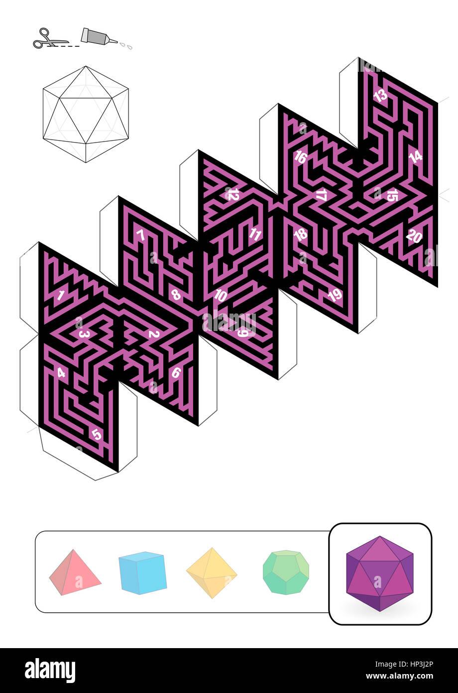 Icosaedro Laberinto - plantilla de uno de los cinco sólidos ...