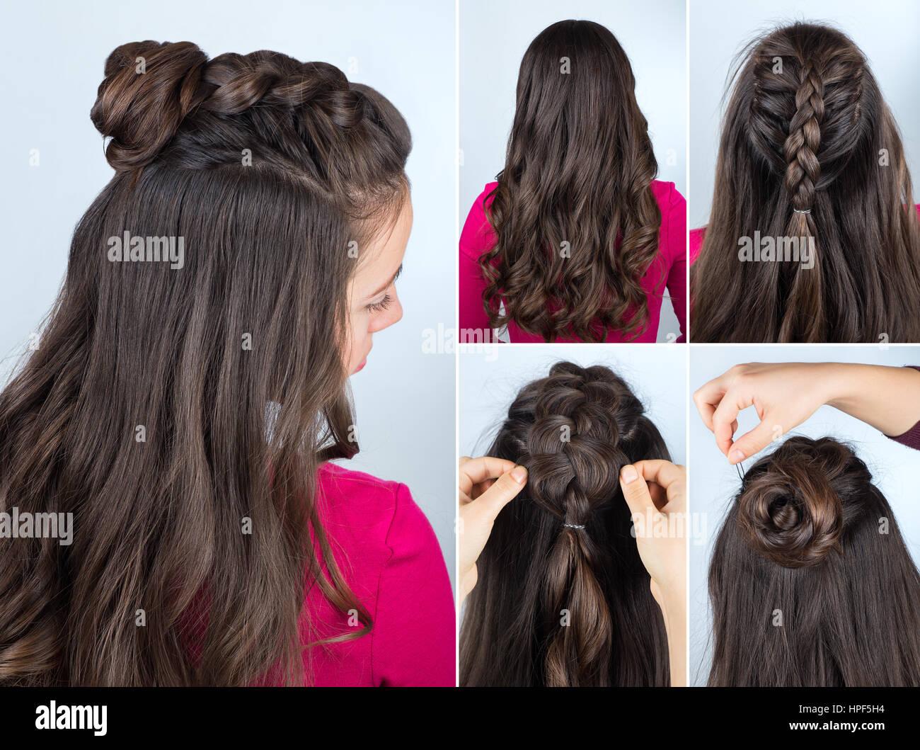 Peinado Moderno Twisted Bun Y Trenzado Con El Pelo Suelto Rizado