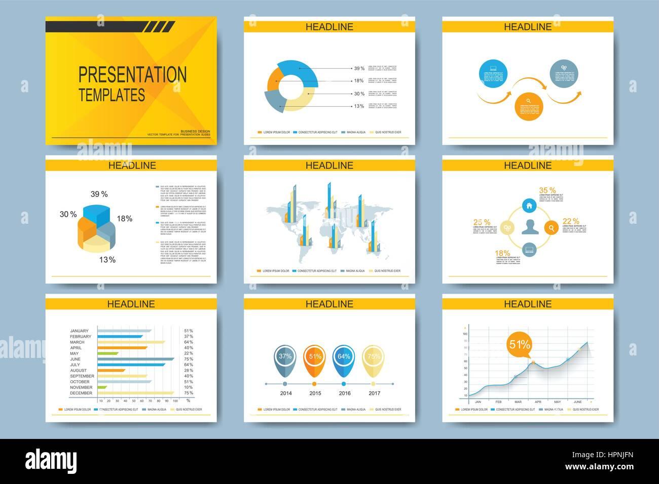 Conjunto de vector plantillas para diapositivas de presentación ...