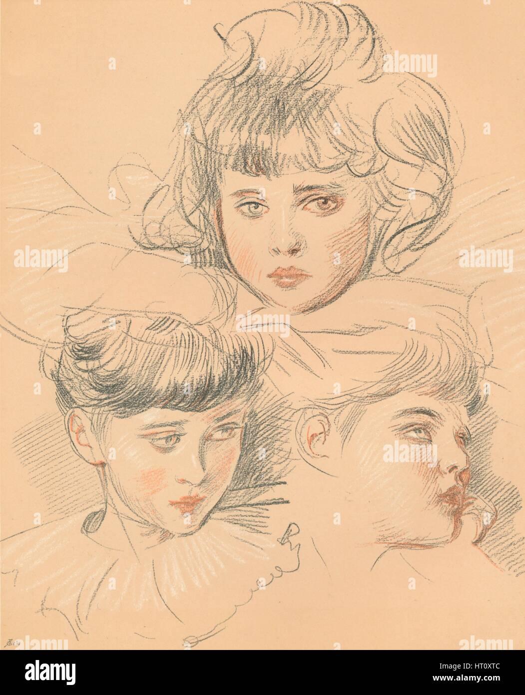Un boceto para un retrato de niños, c 1897. Artista: Paul Helleu ...