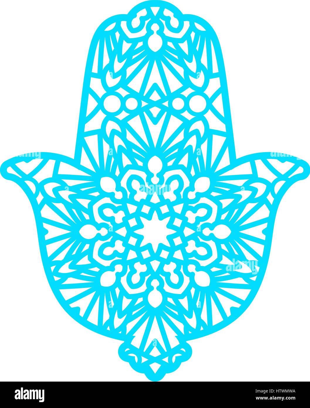 Plantilla de corte láser vectorial Hamsa Ilustración del Vector ...