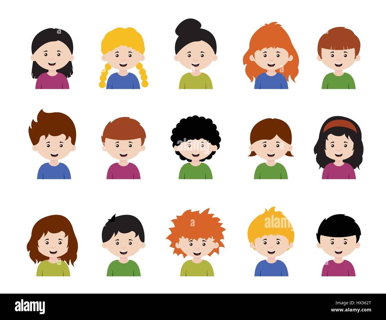 Gran Juego De Niños Avatarescute Dibujos Animados Rostros De Niños