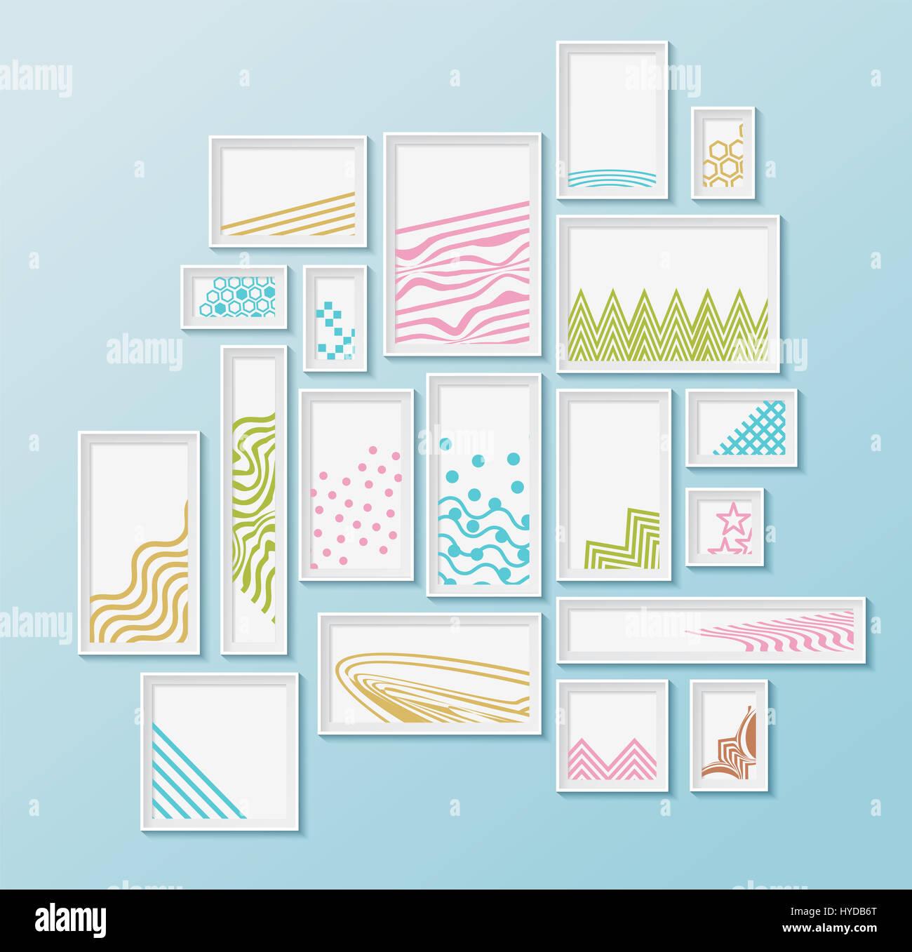 Diferentes marcos pictire simple con coloridos patrones geométricos ...