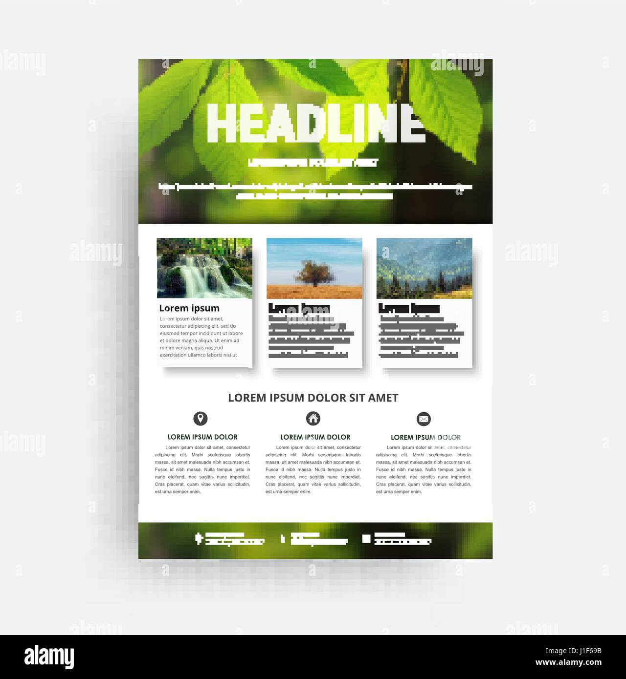 Diseño flyer A4. Una plantilla de folleto con una foto de una hoja ...