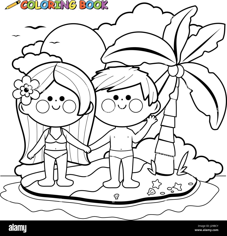 Chico y chica en una isla. Libro para colorear de blanco y negro ...