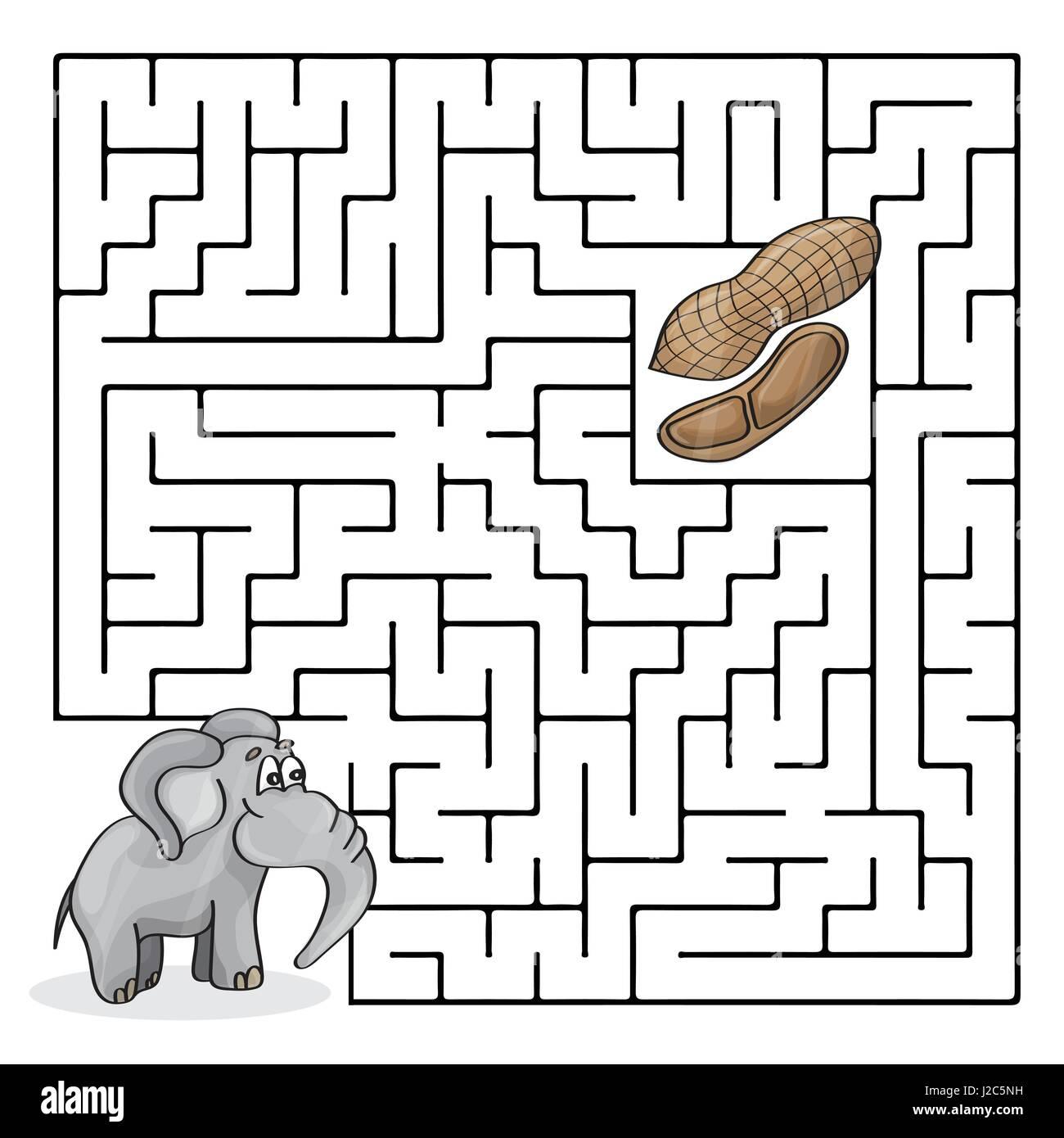 Juego Laberinto Laberinto O Educacion Para Ninos Con Lindo Elefante