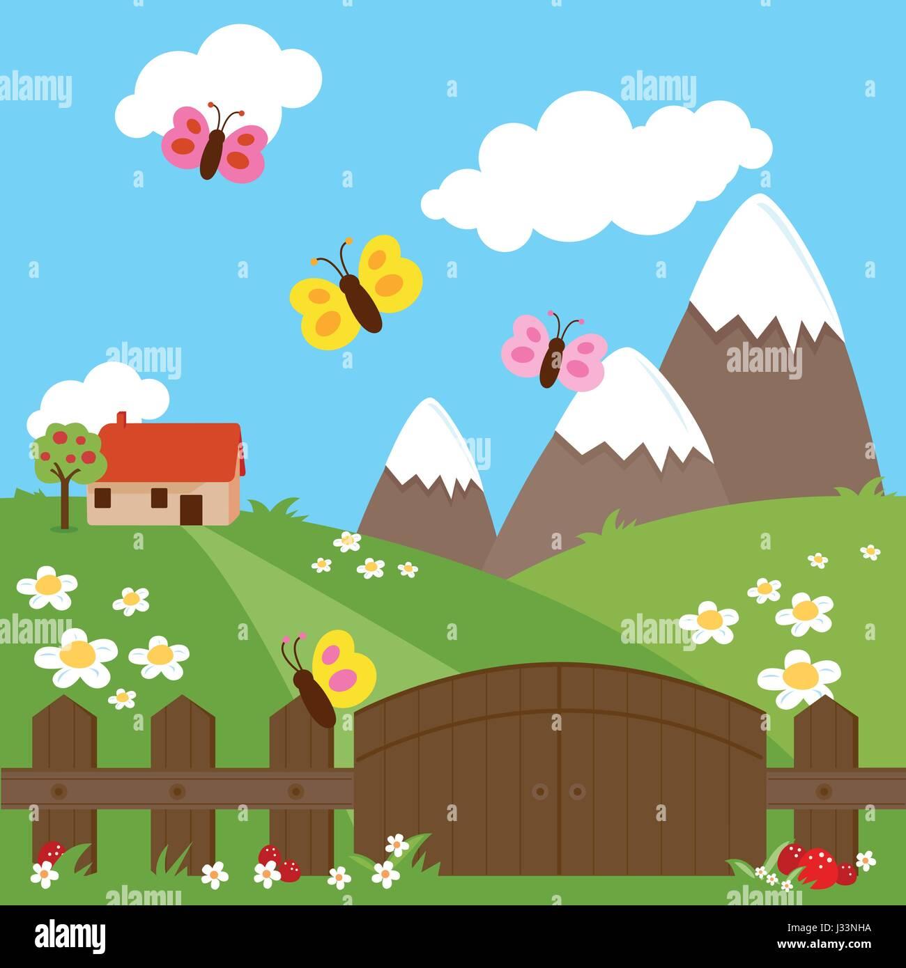Pequeña casa de campo, pradera y valla de madera Ilustración del ...