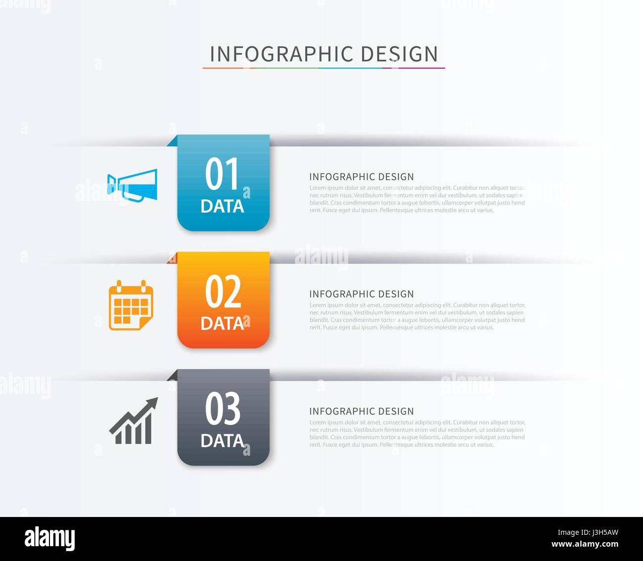 Índice de negocio infografía plantilla con 3 datos. Puede ser ...