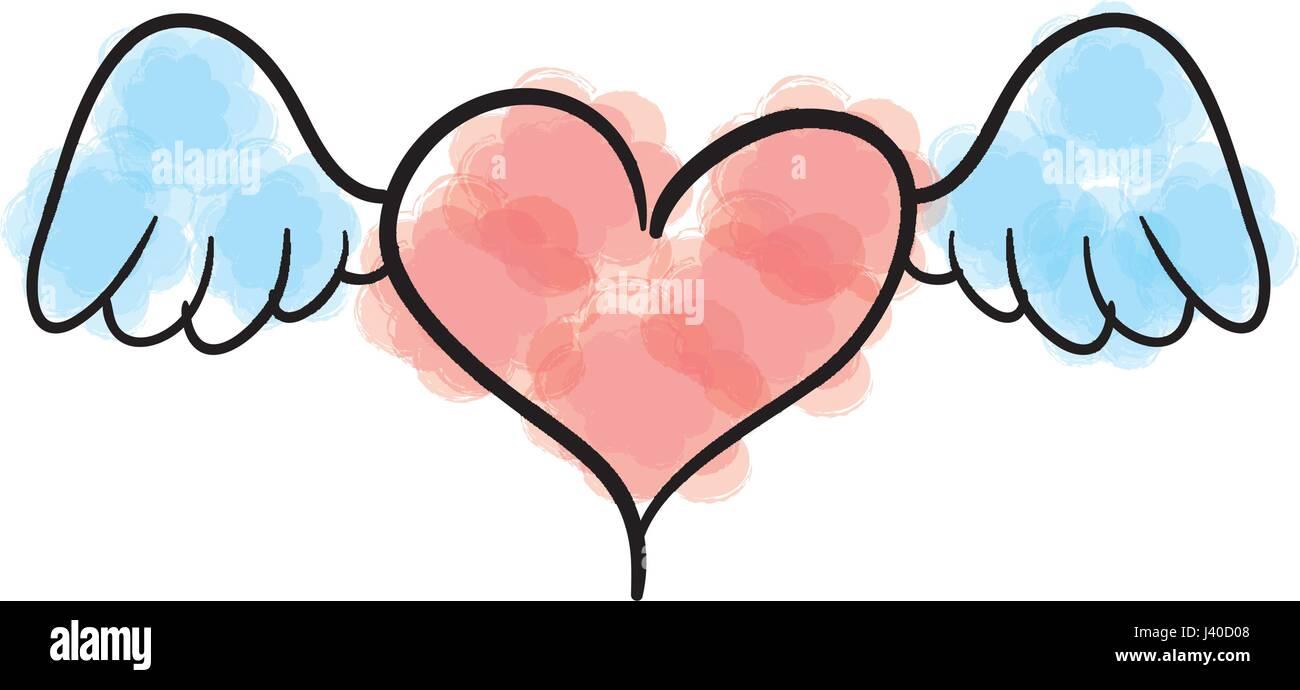 Corazon De Amor Con Alas Icono Romántico Ilustración Del Vector