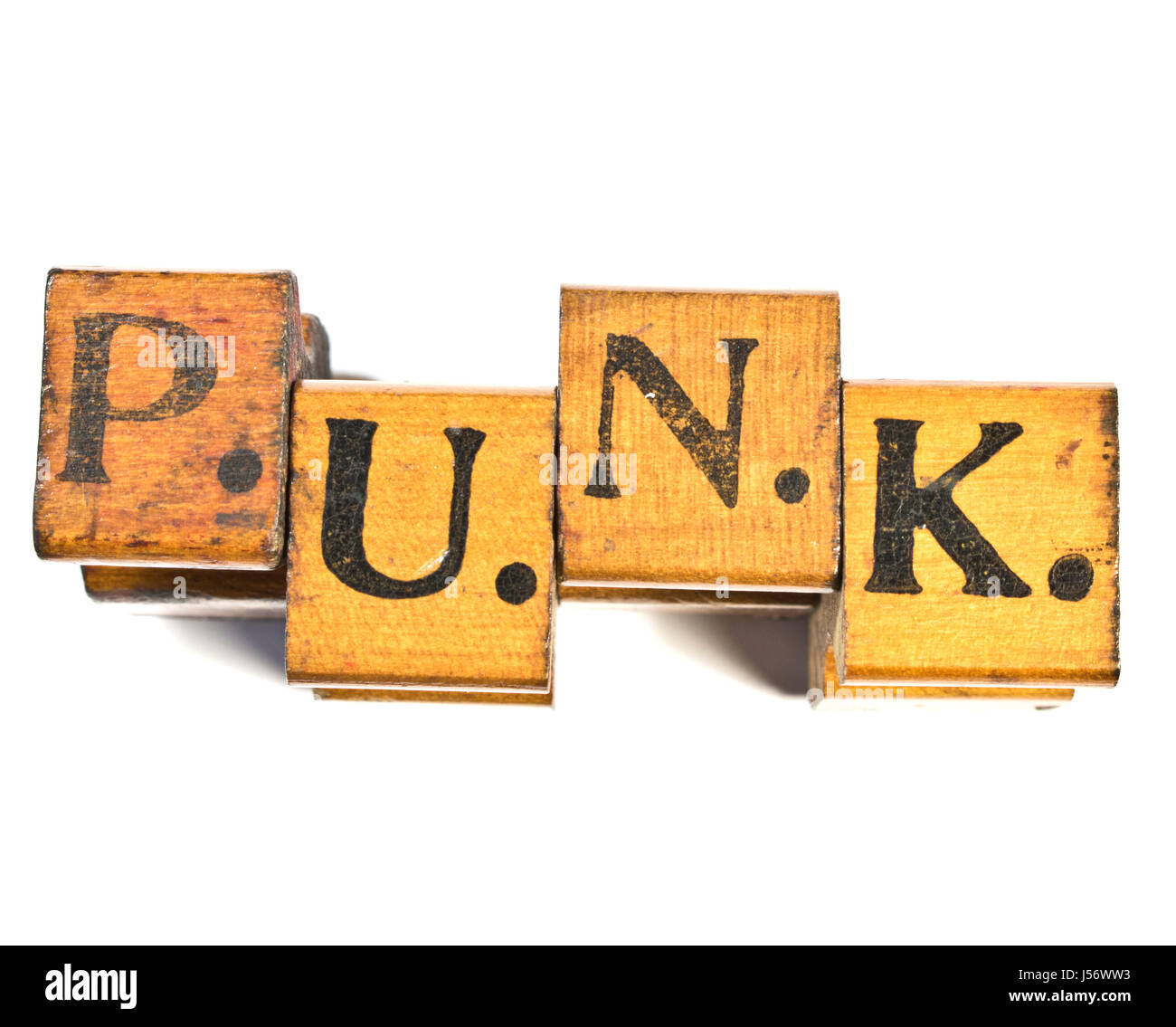 Vintage Punk Alfabeto Fuente impresiones del bloque de madera Foto ...
