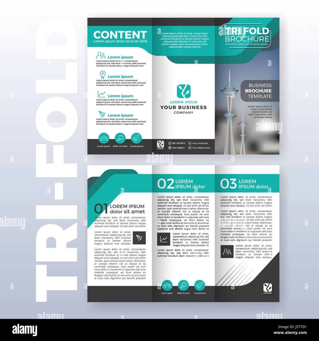 Business folleto tríptico diseño de plantilla con esquema de color ...