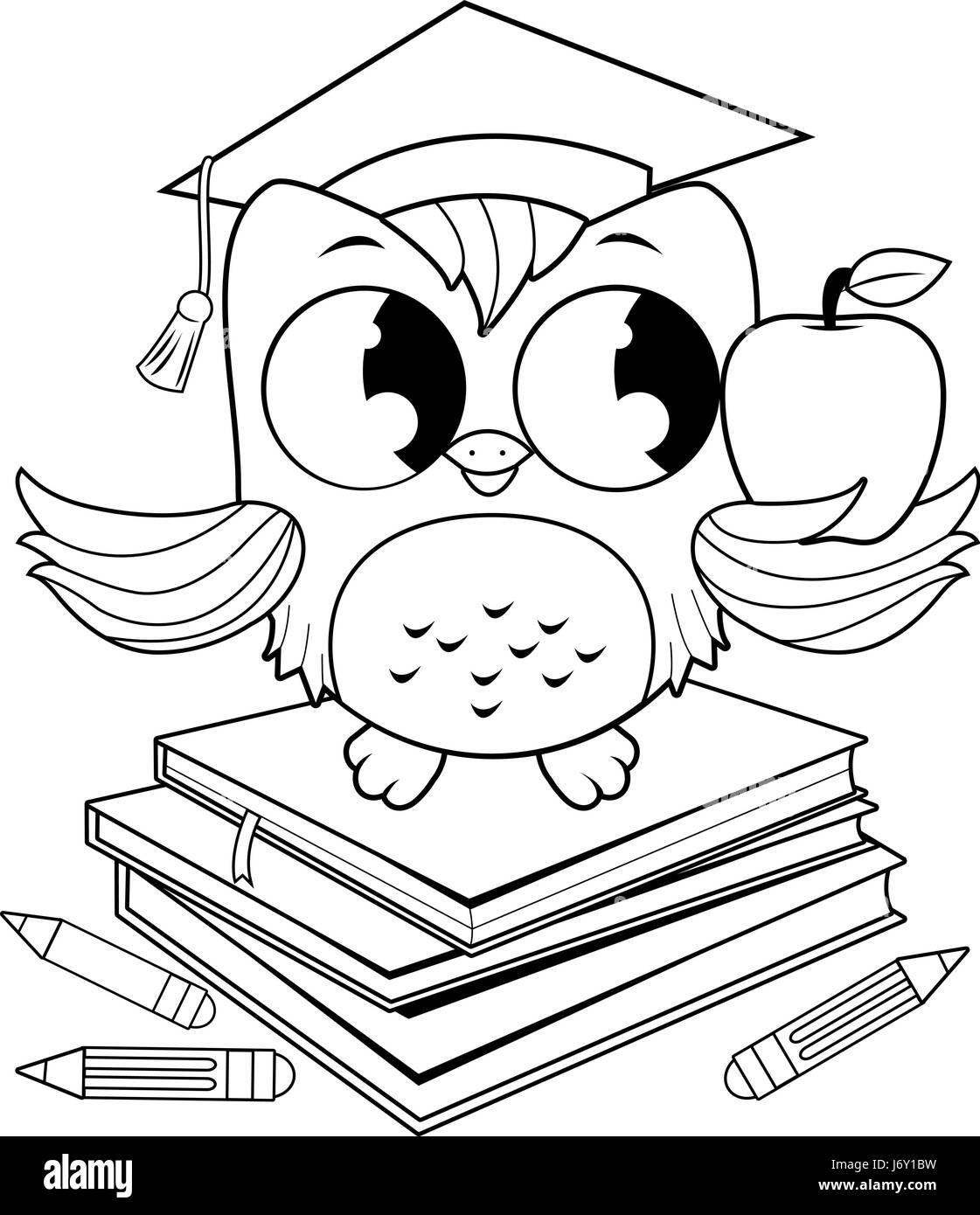 Búho en libros con graduación hat coloring book página Ilustración ...