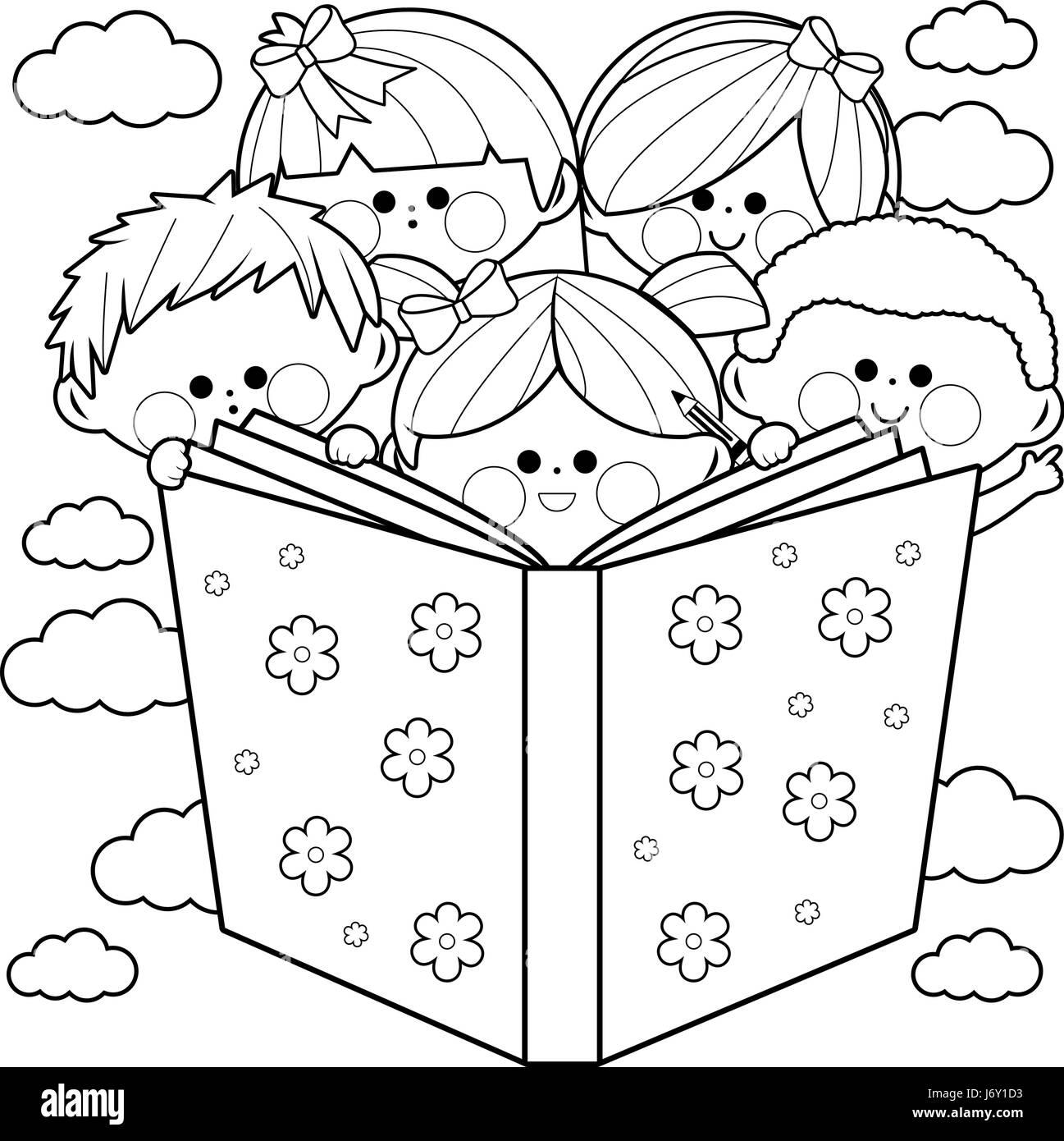 Grupo de niños leyendo un libro libro para colorear página ...