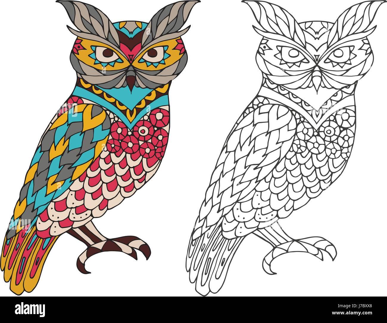 Libro para colorear para imprimir la página para adultos - owl ...