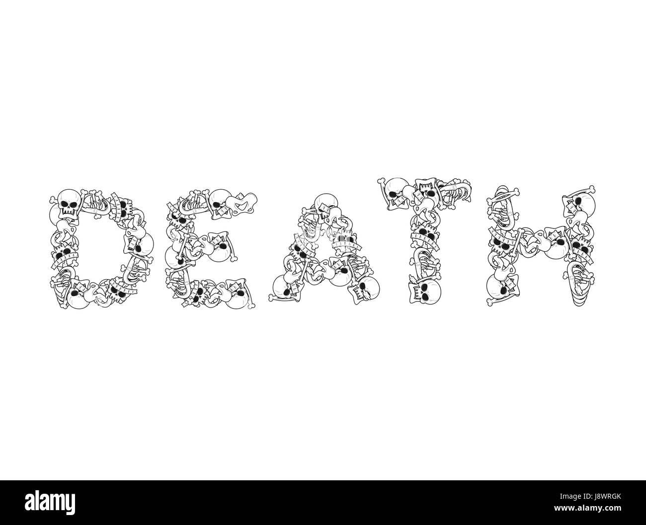 Tipografía de muerte. Cartas de los huesos. Rotulación de anatomía ...
