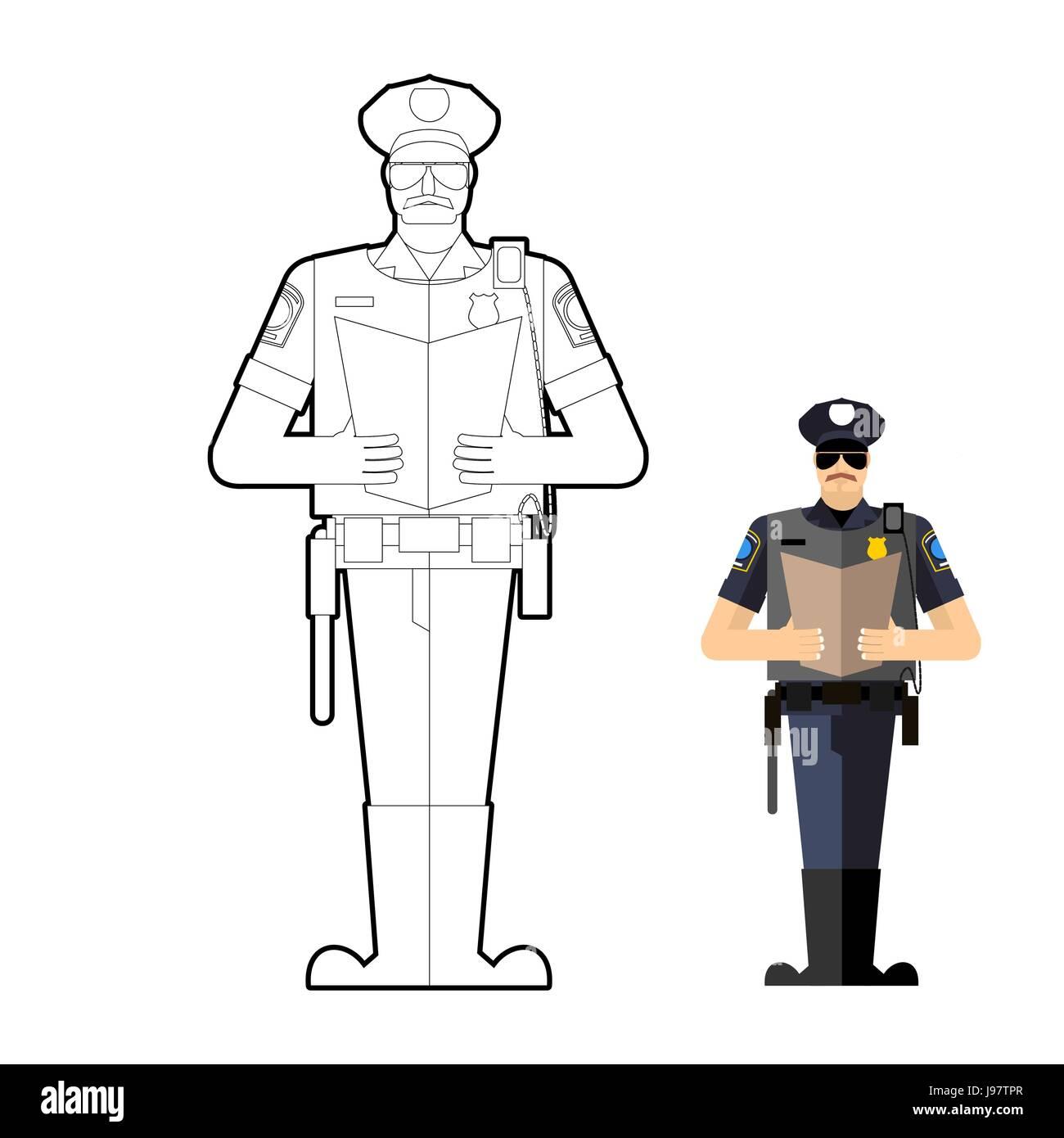 Excepcional Policía Para Colorear Ornamento - Enmarcado Para ...