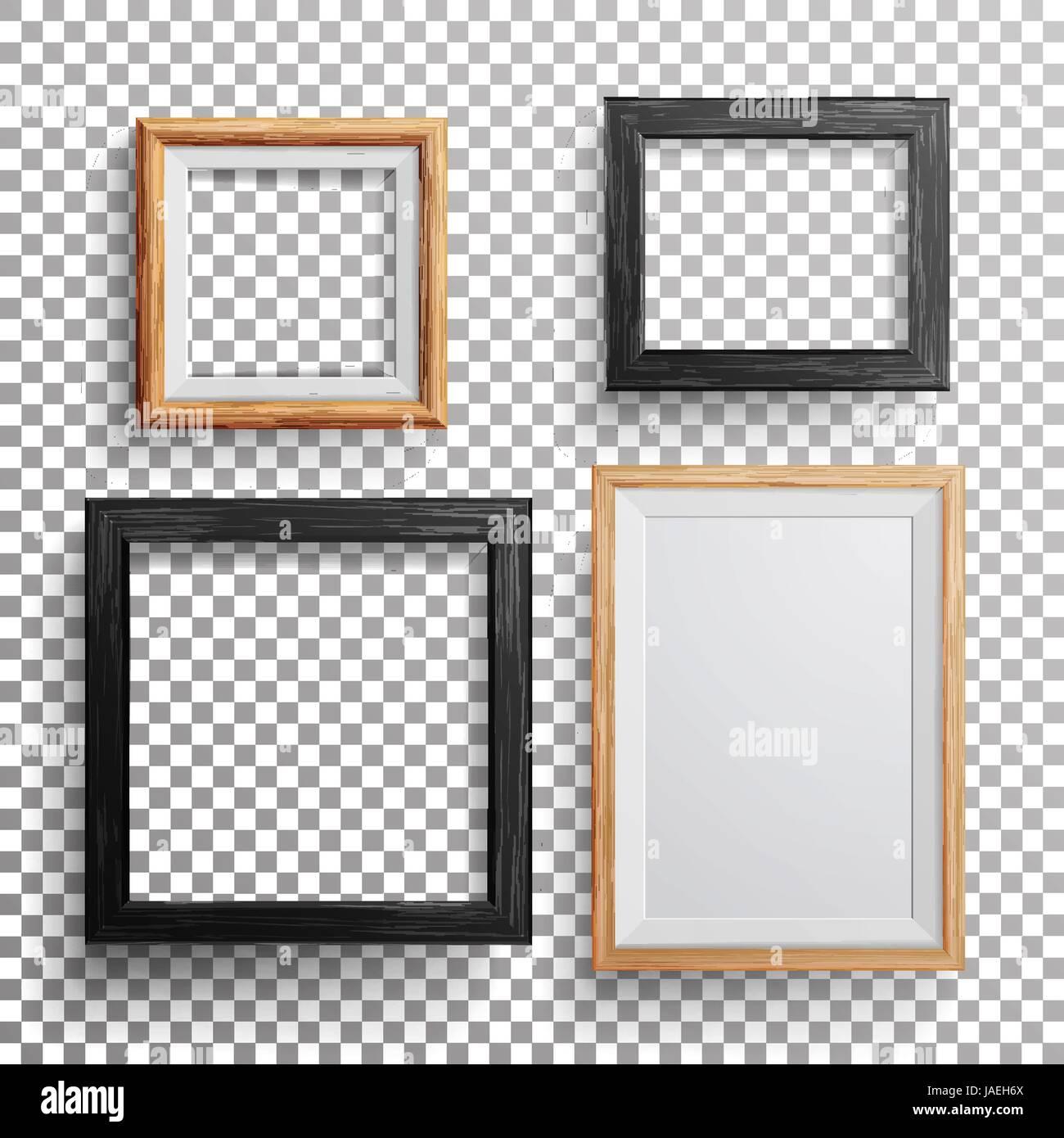 Marco de foto realista Vector. Conjunto 3d Square, A3, A4, tamaños ...