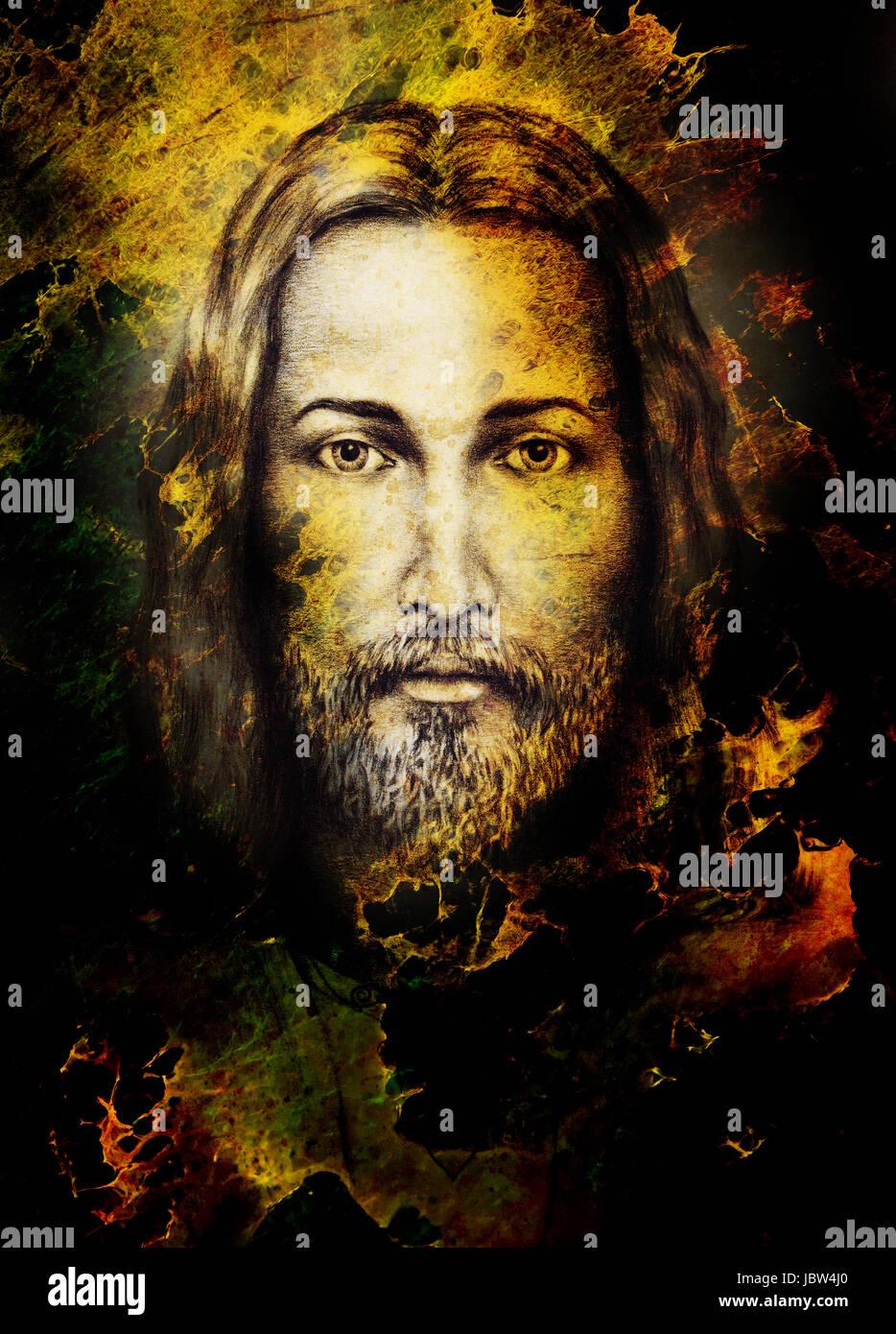 Los lápices de dibujo de Jesús en vintage de papel de color y ...