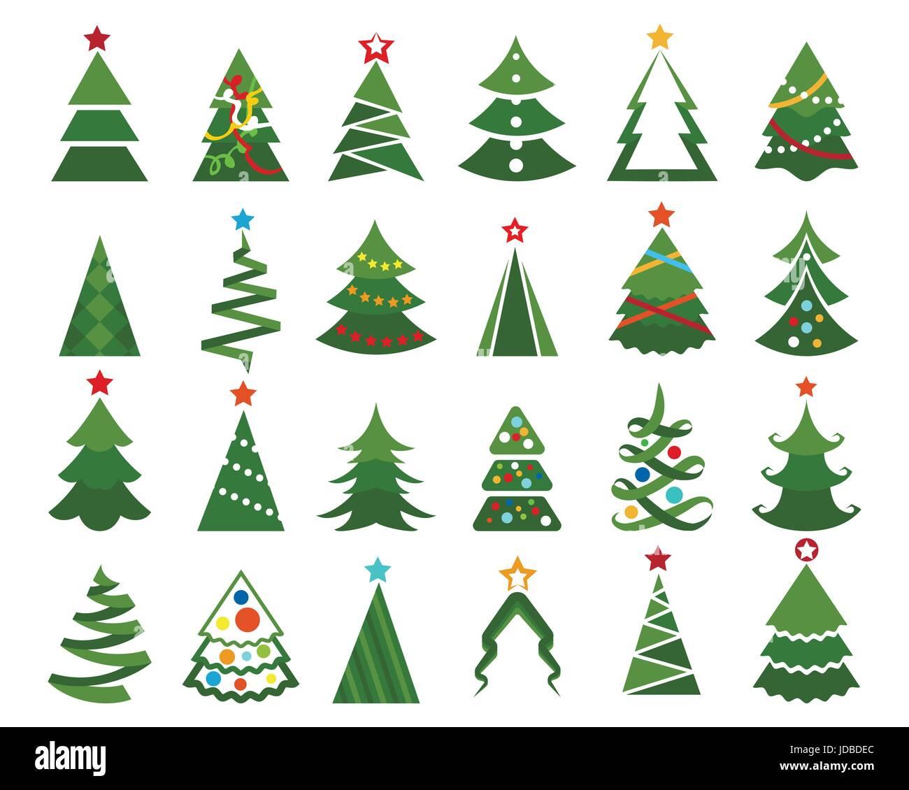árbol De Navidad Vector Set Ilustración En Color De Dibujos