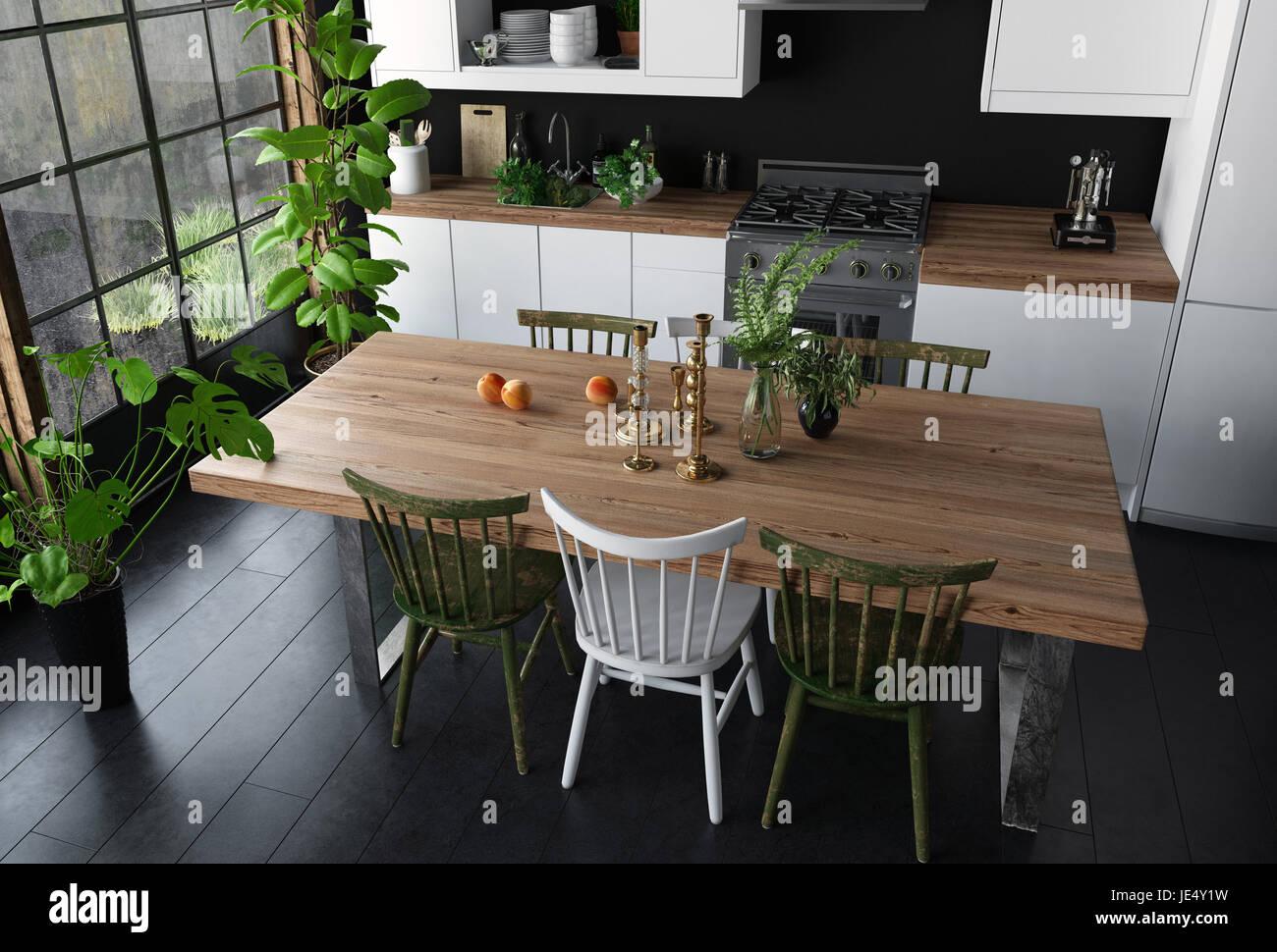 Mesa de comedor con superficie de madera y sillas de cocina moderna ...